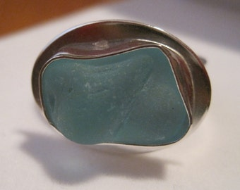 Sea foam blue sea glass ring size 6