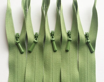 INVISIBLE Zippers- YKK Color  537 Avocado Green- 5 Pieces- Currently available in 9 or 22 Inch