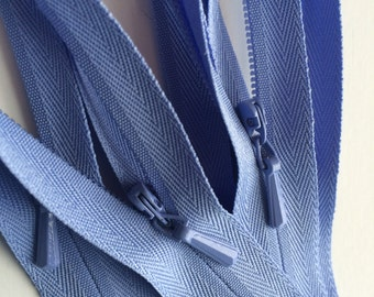 INVISIBLE Zippers- YKK Color 248 Periwinkle- 5 Pieces- Currently available in 9, 18 or 22 Inch