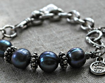 Giant Blue Pearls Sterling Silver doOGle Bracelet
