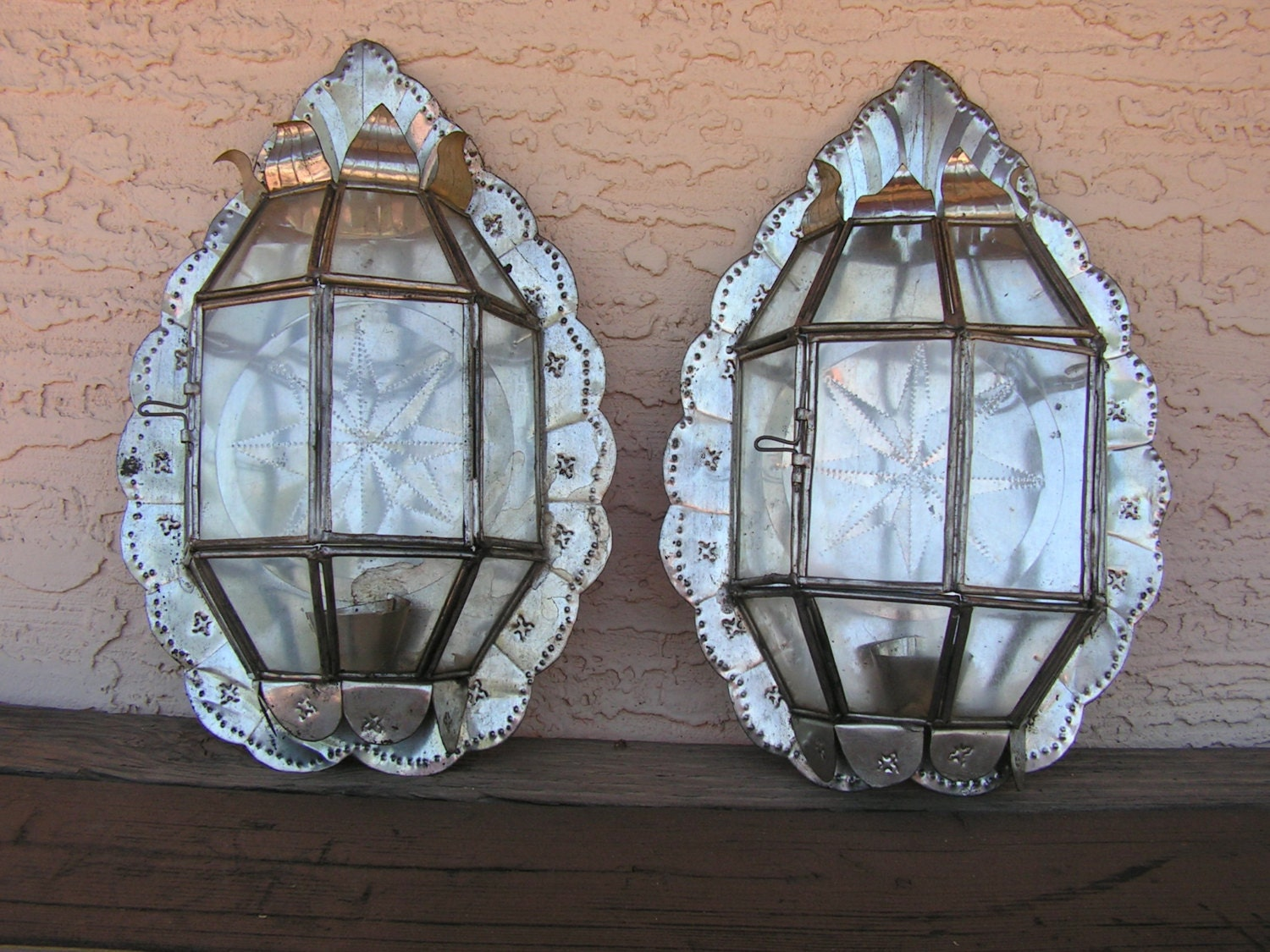 Wall Sconces Mexican : Mexican Punched Tin Stars Wall Sconces Candle Holders with