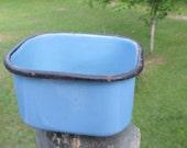 Vintage Blue Enamelware Rectangle Bowl--Enamel Storage Container--Retro Kitchenware--Camp Gear--Rustic Cookware