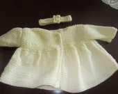 Soft Warm Cream Knit Baby Girl Jacket To Fit 3-6 Months With Matching Headband With Flower