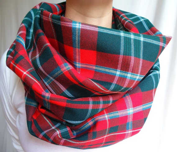 Red And Green Plaid Scarf Red Green Plaid Infinity Scarf