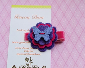 Lime Green and Ivory Butterfly Felt Flower Clip by GenevaDiva