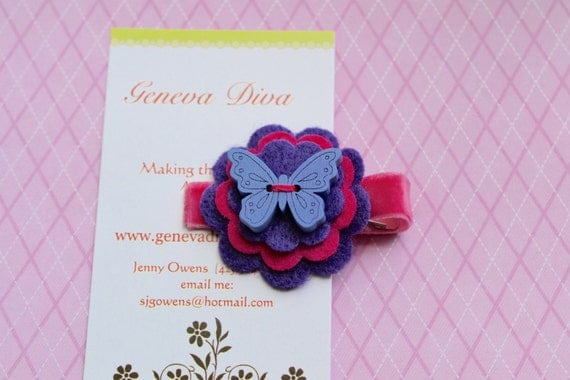 Purple and Pink Wooden Butterfly Stacked Felt Flower Hairclip