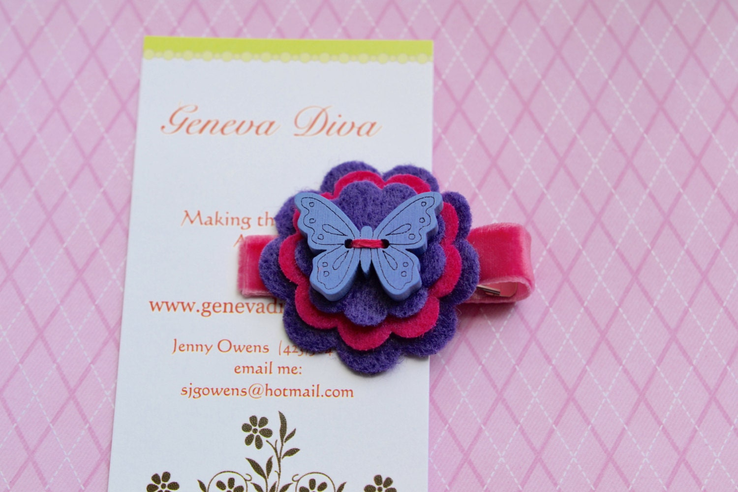 Purple and Pink Wooden Butterfly Stacked Felt Flower by GenevaDiva