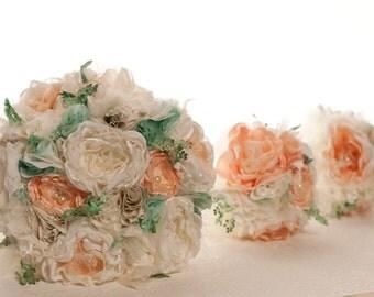 Fabric flower bouquet, wedding bouquet, peach, mint, sage, ivory, beach wedding, mineral tones, vintage style lace
