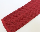 """50's / 60's Knit Tie / Square End / Dark Red / Narrow / 2 3/8"""" wide"""