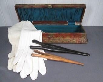Antique Celluloid Glove Box - 2 Pr Doeskin Gloves and 2 Glove Stretchers