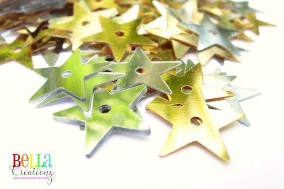 Gold and Silver Star Sequins - 13mm Metallic