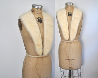 Large IVORY Mink Fur Collar / vintage