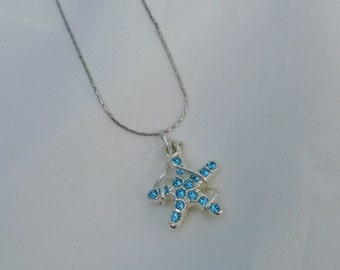 Starfish Necklace with blue crystals - silver-plated, contemporary design, nautical jewelry