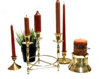 Brass Candle Holders Mismatched Lot Candelabra Vintage Home Decor