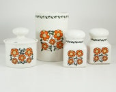 Vintage 1970s Taunton Vale Flowery Retro Crock, Sugar Bowl, Salt & Pepper Set