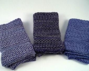 Dishcloths Knit in Cotton in Purples Washcloths Wash Cloth Dish cloth