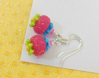 Girls Colorful Earrings   --  Calliope  --  Cherry Limeade