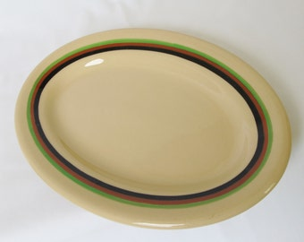 1940s RimRol Shenango Inca Ware Small Platter Tan with Black Green Red Stripes Vintage Restaurant China Diner Dishes Cafe Hotel