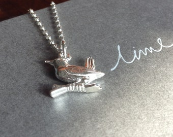 Sterling silver robin charm necklace, bird necklace, personalised charm necklace