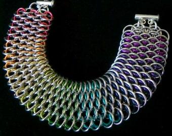 Rainbow Dragonscale Chainmail Bracelet