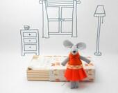Stuffed animal felt animal miniature mouse orange matchbox mouse doll baby shower gift kids gift for mom nursery decor girl stocking stuffer