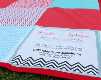 Custom Beach Blanket or Picnic Blanket with Wedding Invitation Block
