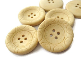 1 inch buttons - set of 6 natural wooden button (BB125N)