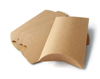 12 Kraft Pillow Boxes - Eco friendly gift boxes 3.5 x 3 x 1 - Recyclable  (XP002)
