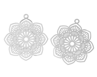 Filigree boho flower pendant stainless steel hypoallergenic charms 2pcs (JF903)