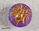 Purple Czech Glass Button Golden Spider Web  22mm GK5604
