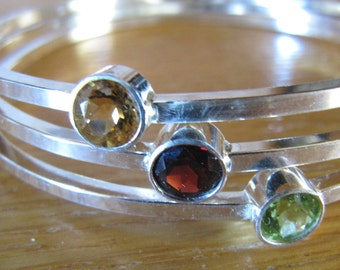 Gemstone and Sterling Silver Bangles  - Peridot, Garnet, Citrine
