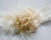 Single Keepsake Garter, flower garter,  feather garter, Beaded Garter, Wedding Garter, for the Boho Bride