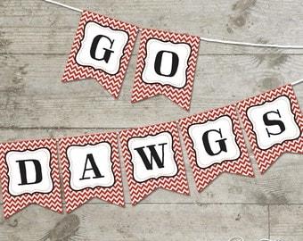 Georgia Go Dawgs Chevron Printable Banner