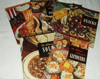 6- 1950's CULINARY ARTS INSTITUTE Cookbooks-Holiday-Snacks-Leftovers-Holiday-Soups & Vegetables