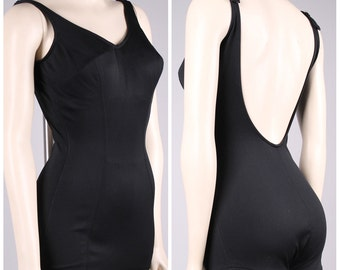vintage 1950s Catalina swim suit black pin up 1960s bathing suit boy leg bombshell size small