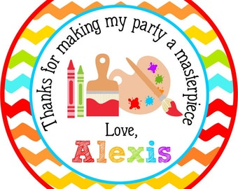 Painting Party Stickers, Art Birthday Party, Personalized Birthday Stickers, Art Party Favor Tags - Set of 12