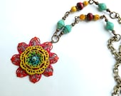 Hand painted filigree necklace in bright summer colors