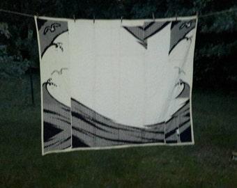 Quilt Art Textile Seagull Ocean Boro Indigo & Ivory Abstract Shibori Kimono Graphic Design Hand Quilted Linen Back by artdesignsbydanielle