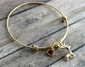 Gold deer bracelet, gold plated adjustable stainless steel bangle bracelet with buck charm Swarovski crystal birthstone Outdoor girl jewelry