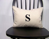 embroidered monogram pillow cover- personalized - custom - black - initial pillow - cushion cover - personalized gift - lumbar