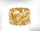 Diamond Women Wedding Ring - Unique Wedding Band - Women Wedding Band - Gold Band - Lace leaves Ring - Free Shipping