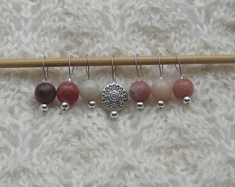 Pink Lepidolite Knitting Stitch Markers - snag free loop markers - 8mm gemstones and silver  - set of 7 - three loop sizes available