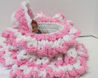 Handmade Crochet Church Amigurumi Purse~Little Girl Purse~Doll Cradle~Gift for Girl~Birthday~Christmas~Easter~Baby Doll and Cradle~Toy