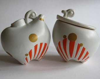 Orange Stripe Cream and Sugar Set