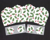 SALE - Christmas Holly Leaves Mini Elegant Envelopes, Inserts and Envelope Seals (4) CEMN7 / Ready To Ship