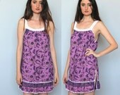 the narrows -- vintage 70s mini cotton crocheted detail dress S/M