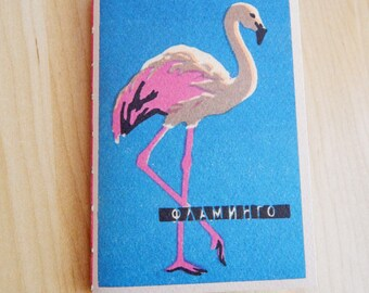 Pink Flamingo Journal Notebook - Vintage Zoo design cover - Hand bound notebook. Gifts for teens, for children.  Mother's Day Gift