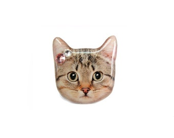 Cute Brown Short Hair Tabby Cat  Ring - A0010-R C01 Made to Order