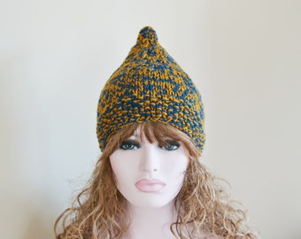 Pixie Hat Knitted Hat Elf Chunky Ready to Ship Winter Hat