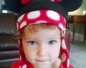 Minnie Mouse inspired fleece hat design, size S, for Winter wear or Halloween